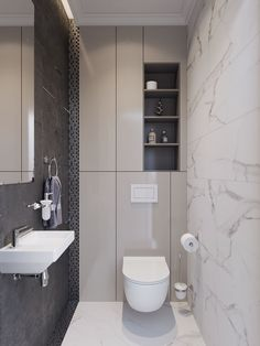 Small bathroom with a ton of hidden back wall storage. Minimal and contemporary // New project by Z E T W I X