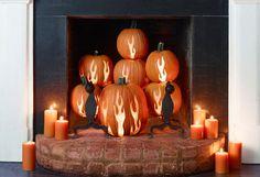 Pumpkin fireplace ~ Makes me wish I had a fire place!