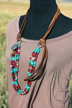 nice Leather and Rainbow Agate Southwestern Statement Necklace, Turquoise Chip Beads, Silver Bali Beads, Pewter Indian Head Charm