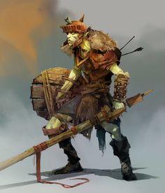 Goblin pikeman, Svetoslav Petrov on ArtStation at https://www.artstation.com/artwork/goblin-pikeman