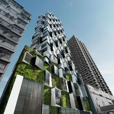 Luxury apartment block in Hong Kong by Aedas that references the local vernacular of overcrowded high-rise towers covered in ad hoc extensions.