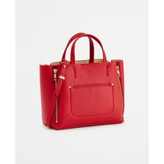Ann Taylor Mini Signature Tote ($98) ❤ liked on Polyvore featuring bags, handbags, tote bags, aurora red, red tote bag, miniature purse, ann taylor purses, red handbags y mini handbags