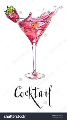 Wineglass of strawberry cocktail, hand drawn-watercolor Illustration- food and . Watercolor Food, Watercolor Cards, Watercolor Illustration, Watercolor Paintings, Hand Illustration, Watercolour, Strawberry Cocktails, Cocktail Illustration, Watercolor Art