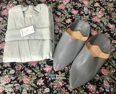 """Jade and May on Instagram: """"A cute gift heading out to a  very lucky new Mum to be!  The Harbour Mist linen kimono and grey pointed Moroccan Babouche Slippers are the…"""""""