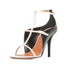 #FSJshoes - #FSJ Shoes Black and White Formal Shoes T-strap Stiletto Heel Sandals - AdoreWe.com
