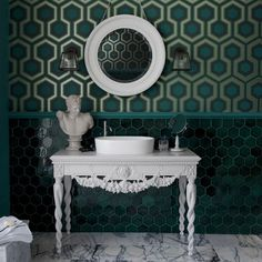 Bathroom with green geometric wallpaper
