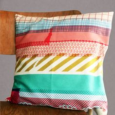 Washi tape cushion cover by mrs eliot books. A washi tape mug is also available.