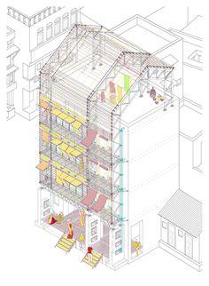 Axonometría de la propuesta, estudio de la fachada. Estrategias para la Regeneración del Espacio Público Indio, Los Pols de Ahmedabad. Corte...
