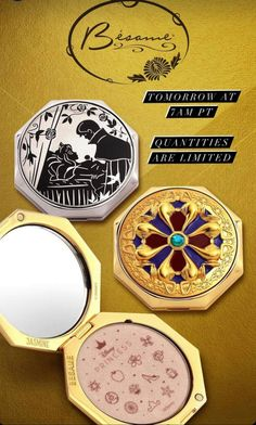 No Time To Sleep! Get These Princess Compacts Now! Disney Inspired Makeup, Real Life Fairies, Disney Earrings, Blue Color Schemes, Cute House, Disney Style, Beautiful Patterns, Makeup Inspiration, True Love