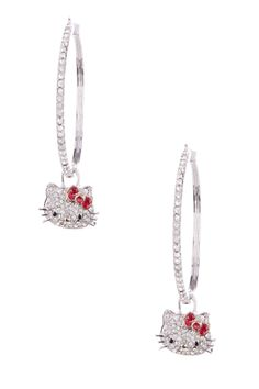 Sterling silver pave crystal Hello Kitty