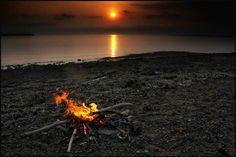 bon fire on the beach...