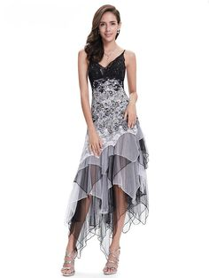 Sexy V-Neck Black And White Lace Empire Long Party Dress 023959d3d5f6