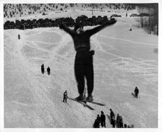 Ski jumping at Caberfae Peaks in Cadillac, Michigan, 1949
