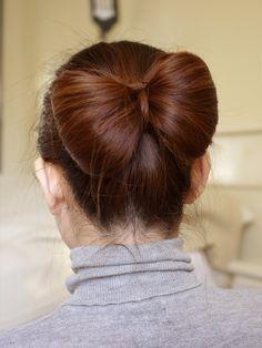 Hair Bow Tutorial for Long Hair, via YouTube.