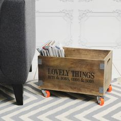 Lovely Things Crate on Wheels - Small Storage - Hardware - Home Accessories Wooden Crates On Wheels, Small Wooden Crates, Wooden Storage Crates, Wooden Crate Boxes, Vintage Wooden Crates, Crate Bench, Crate Storage, Wood Crates, Wooden Diy