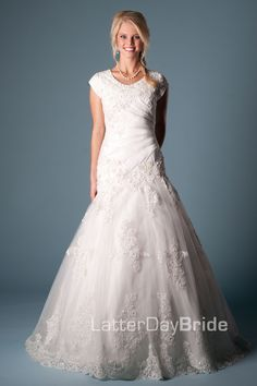 Modest Wedding Dress, Florenza | LatterDayBride & Prom. Lace is very much in style.