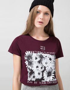 'T-shirt BSK estampada.Daisy/All lov.' - T-shirts - Bershka Portugal