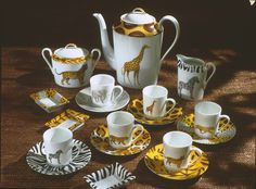 coffee set; so jungle! (#safari, #out of africa, #jungle) Jungle collection, safari, , Dinnerware, porcelain, Africa, hand made,FRAGILE by Patricia Deroubaix.Limoges France