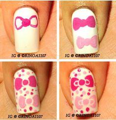 Hello Kitty Bow Nail Art
