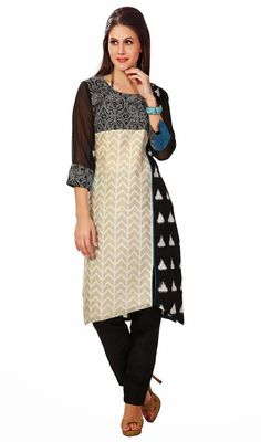 Flaunt a dashing glamour in this black, off white and steel blue cotton kora silk salwar suit. Beautified with block print and resham work. #PrintedEveningWearSuit