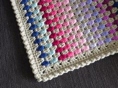 Ravelry: cuddlycritter's Granny Stripes blanket Lovely border: of granny clusters, 1 row sc, last row stitch done in reverse. Granny Stripes, Granny Stripe Blanket, Crochet Blanket Border, Crochet Borders, Crochet Squares, Crochet Blanket Patterns, Striped Crochet Blanket, Crochet Afghans, Crochet Granny