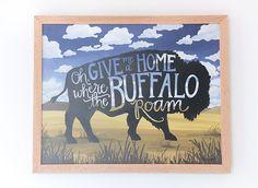 Where the Buffalo Roam Framed Print on Wood