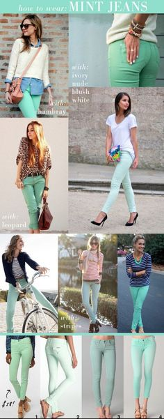 need mint jeans! need mint jeans! need mint jeans! Look Fashion, Spring Fashion, Womens Fashion, Fashion Trends, Jeans Fashion, Nail Fashion, Fashion Clothes, Fashion Tips, Mint Pants