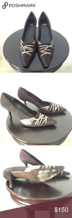 Stuart Weitzman shoes Beautiful brown suede with lighter brown leather accent shoes.  Only worn one time, in great shape. Size 91/2 M. Stuart Weitzman Shoes Heels