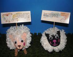 Souvenirs ovejitas del señor. Realizadas con hilo de lana, cartón de huevos, tapa de seguridad de los corchos de vino y limpia pipas.