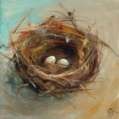 Two Egg Nest Painting by Cari Humphry