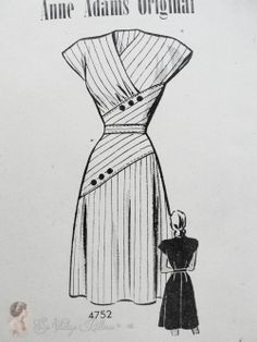 Stunning Surplice Dress Pattern Figure Flattering Design Anne Adams Original 4752 Vintage Sewing Pattern FACTORY FOLDED Bust vintage sewing patterns: This is a fabulous original dress making pattern, not a copy. Motif Vintage, Vintage Dress Patterns, Vintage Dresses, Vintage Outfits, 1950s Dresses, Vintage Clothing, Skirt Patterns, Coat Patterns, Blouse Patterns