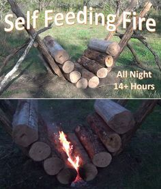 to Build the Self Feeding Fire - All Night Fire Whether you are an avid outdoorsman or weekend warrior, this campfire design will impress and perform.Whether you are an avid outdoorsman or weekend warrior, this campfire design will impress and perform. Bushcraft Camping, Camping Survival, Outdoor Survival, Survival Prepping, Survival Skills, Camping Hacks, Survival Food, Camping Ideas, Survival Equipment