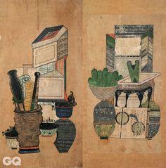<책거리>, 2폭, 19세기, 종이에 채색, 각 64×31.9cm, 52.8x28cm, 일본민예관.