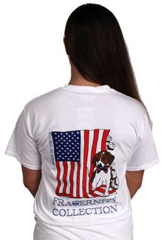 The Patriotic Puppy Short Sleeve Tee Shirt in White by the Fraternity Collection