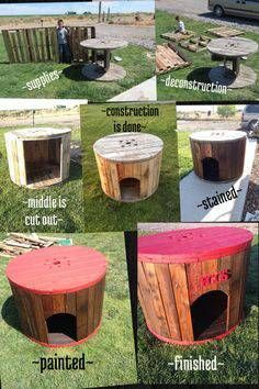 Octagon Picnic Table, Build A Dog House, House Building, Wood Spool, Wooden Cable Spools, Dog Furniture, Pallet Furniture, Furniture Cleaning, Furniture Online