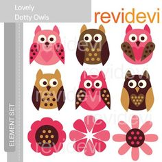 Clipart Lovely Dotty Owls - pink, brown - clip art E047.Cute clip art set for teachers and educators. Great resource for any school and classroom projects such as for creating bulletin board, printable, learning worksheet, classroom decor, craft materials, activities and games, and for more educational and fun projects.You will receive:- Each clipart saved separately in PNG format, 300 dpi with transparent background.- Each clipart saved separately in JPG format, 300 dpi with white…