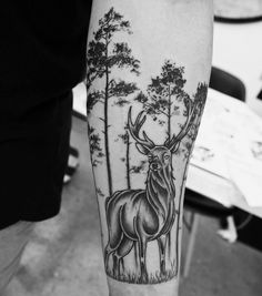 Rad stag piece by Rae Rae #blackandgrey #stag #btattooing #trees #forearmtattoo