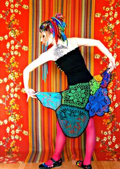 Rainbow Lace Weight Multimotif Doily Upcycled Asymmetric Crochet Dress With Buttoned Violet Heart Bodice. $240.00, via Etsy.