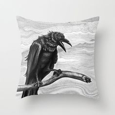 Raven / Crow Pillow or Pillow Cover by PoeDesignscom on Etsy, $30.00