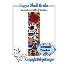Bead Pattern LoomBracelet CuffSugar Skull Bride