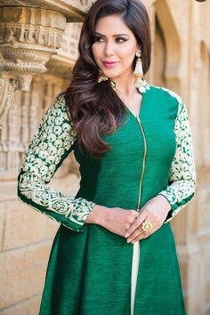 #Green thread worked raw silk Indo Western with #v #neck design -SL3163
