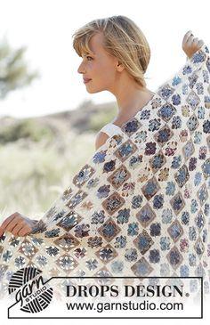 """Rocky Path - Couverture DROPS au crochet, composée de petits carrés granny, en """"Fabel"""". - Free pattern by DROPS Design"""