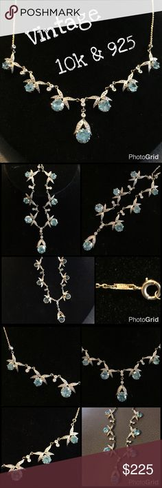 """Vintage 10k w/ 925 Beautiful Necklace Stunning Vintage /Antique 10k & 925 Blue & Clear Stone Necklace. Measures 17"""" long. Marked 14k but tested mainly 10k gold w/ some Sterling silver details throughout. Weight 11.42 grams. The pictures do not do this necklace justice at all! It's in great vintage condition w/ 1 stone missing that a jeweler could easily replace. A must have piece! Thanks 4 looking! I ship same day. Buy w/ confidence 364 5 star feedback. Please make REASONABLE offer using…"""