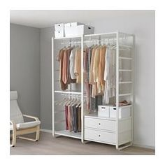Renew your home with ELVARLI 2 section shelving unit, white. ELVARLI storage system adapts to your space. The open solution with durable bamboo shelves creates an attractive display of your belongings. Ikea Elvarli, Bamboo Shelf, Open Wardrobe, Wardrobe Wall, Painted Drawers, Plastic Drawers, Drawer Fronts, Storage Shelves, Shelving Units
