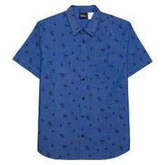 Mickey Mouse ® Men's Palm Tree Short Sleeve Woven Shirt Blue : Target