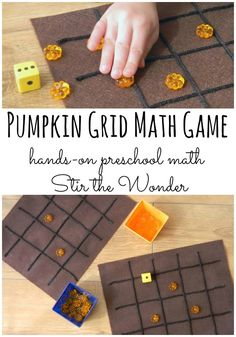 The Pumpkin Grid Math Game is a great way to introduce preschoolers to basic math concepts in a fun and hands-on way! #preschoolmath #preschool #handson #kbn #math