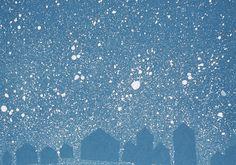 "PreK winter art based on ""SNOW"" by Uri Shulevitz."