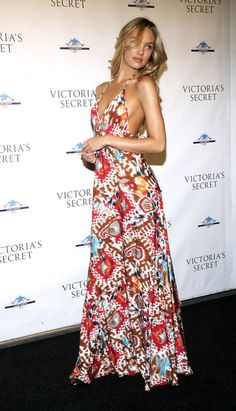 Candice Swanepoel Maxi Dress - Candice Swanepoel looked summery in a tribal print maxi dress with a low-cut back.