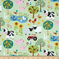 Jolly Farm Scenic Multi from @fabricdotcom  Designed by The Henley Studio for Makower/Andover, this cotton print is perfect for quilting, apparel and home decor accents. Colors include pink, black, white, blue, brown, and orange.