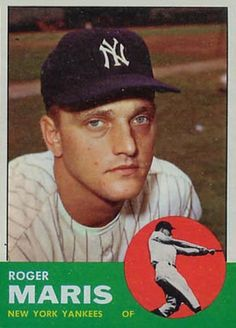120 - Roger Maris - New York Yankees Baseball Card Values, Old Baseball Cards, Yankees Fan, New York Yankees, Equipo Milwaukee Brewers, No Crying In Baseball, Baseball Players, Baseball Teams, Baseball Star